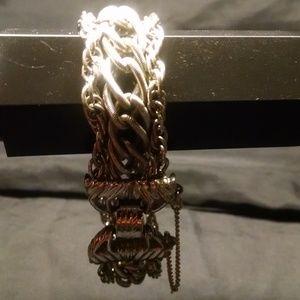 Jewelry - Gorgeous Silver Triple Strands Chain Link Bracelet